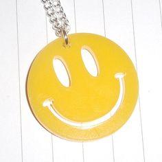 bb64a88b14 80s Retro Acid House Smiley Logo Charm Necklace. 3mm Perspex DIY Logo.  Small charm