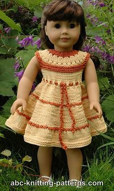 American Girl Doll Caramel Popcorn Summer Dress - Ravelry: American Girl Doll Caramel Popcorn Summer Dress pattern by Elaine Phillips - Knitting Dolls Clothes, Crochet Doll Clothes, Knitted Dolls, Girl Doll Clothes, Doll Clothes Patterns, Clothing Patterns, Girl Dolls, Doll Patterns, Knitted Baby