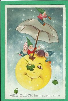 "1932 German ""Much Luck in the New Year"" postcard 