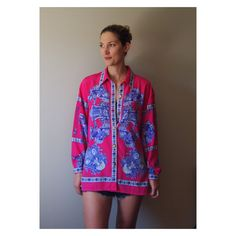 Mega Bright Versace style Baroque Print Collared Shirt Oversized oh yeah - $33
