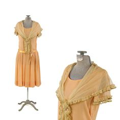 Vintage 1920's Sheer Peach Chiffon Ruffled by GreatLakeOutfitters