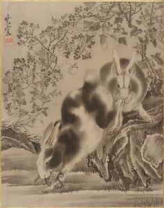 Rabbits Kawanabe Kyōsai  (Japanese, 1831–1889) Period: Meiji period (1868–1912) Date: 19th century Culture: Japan Medium: Album leaf; ink an...