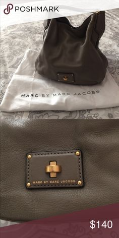 price drop Gently used Marc Jacobs shoulder bag. Greige in color. Small blemish on nameplate and on the back barely noticeable. No signs of wear on bottom  or straps. Reasonable offers considered.  Marc Jacobs Bags Shoulder Bags
