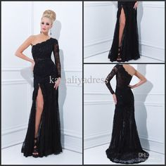 one shoulder one sleeve black lace sequin prom dress evening gown
