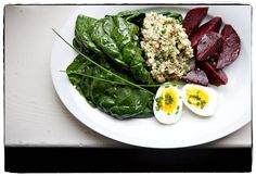fresh spinach with a sesame umeboshi dressing, beets and cold brown rice herb salad / Canal House cooks lunch @Moira Hickman