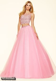 6351f3b111 The Mori Lee Paparazzi 98101 prom dress is an allover beaded two-piece  ballgown…