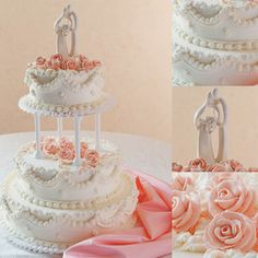 Laura: The delicate tango of peaches and cream come together in this three-tiered cake topped in ivory buttercream icing. The charming draping beautifully accents the peach-colored icing roses.
