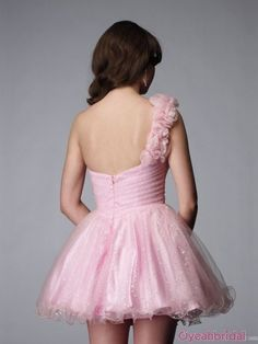 One Shoulder Pink Homecoming Dresses...maybe if it was a little bit longer.