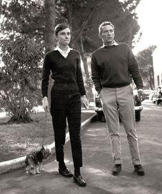 Audrey Hepburn in the gardens at Cinecittà film studios in...