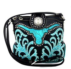 Montana West® Concealed Carry, Tooled Longhorn Messenger - Black/Turquoise