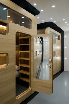 Sleepbox Boutique Hotel Room Design in Moscow. Wonder if I can build this in my home, to replace bed rooms. Design Hotel, House Design, Airport Sleeping Pods, Sleep Box, Boutique Hotel Room, Capsule Hotel, Futuristic Interior, Tiny Spaces, Hostel
