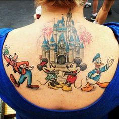 35 Magical Disney Tattoos That Will Make You Want to Get Inked - Disney Dining I. - My most beautiful tattoo list Disney Tattoos, Mickey And Minnie Tattoos, Disney Inspired Tattoos, Mickey Tattoo, Love Tattoos, Body Art Tattoos, Crown Tattoos, Disney Castle Tattoo, Disney Sleeve