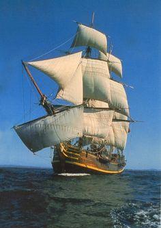 "HMS ""Bounty"" all sails set"