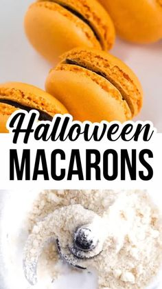 Make these yummy pumpkin macarons for Halloween treats and dessert with Pumpkin filling in each macaron shell. Halloween Food For Party, Halloween Desserts, Fall Desserts, Gluten Free Desserts, Cookie Desserts, Halloween Treats, Healthy Cake Recipes, Best Dessert Recipes, Desert Recipes