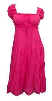 Pink Cotton Empire Waist Plus Size SunDress