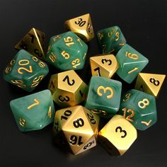 "theforbiddencandy: ""• Jade Green & Gold • Unpolished Gold Dice Set """
