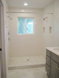 double shower with window, shower curtain