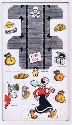 Popeye Punch Out Booklet Ready to Assemble 1961 Golden Press Vintage Complete | eBay