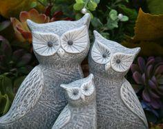 This item is unavailable Garden Owl, Garden Ideas, Family Sculpture, Owl Home Decor, Small Owl, Owl Family, Horned Owl, Family Garden, Outdoor Sculpture