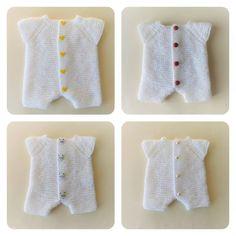 Garter stitch romper pattern by Marianne Baby Romper Pattern Free, Baby Cardigan Knitting Pattern Free, Baby Knitting Patterns, Baby Patterns, Free Knitting, Crochet Patterns, Jumper Patterns, Knitting Stiches, Free Pattern
