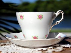 Shabby Tea Cup and Saucer, Regency Teacup, Pink Roses Chintz 13596