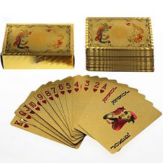 Gold Foil  Art Poker Plated Playing Cards dragon and phoenix 5 sets lot