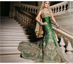 Green Bridal lengha