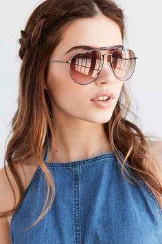 Keaton Brow Bar Aviator Sunglasses - Urban Outfitters