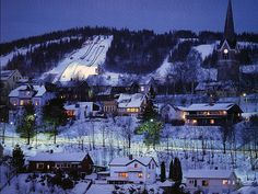 Lillehammer, Norge; somewhere behind the Church tower was the cabin we always…