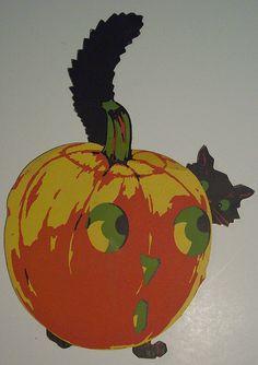 Vintage Halloween Black Cat and Jack-O-Lantern