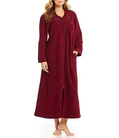 Miss Elaine Petite Brushed Back Terry Zip-Front Robe 2afec2279
