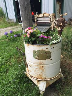 Old washing machine turned into a planter I