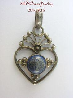 Estate Sterling Silver 925 Filigree Open Heart Blue Lapis Lazuli Pendant…