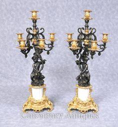 Pair French Empire Bronze Cherub Candelabras Candles
