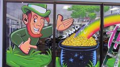 leprechaun with pot of gold (window splash) by scotcampbell