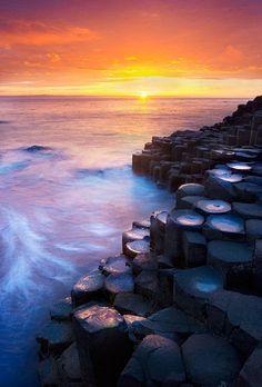 Sunset at Giant's Causeway - County Antrim, Ireland by Lukasz Maksymiuk