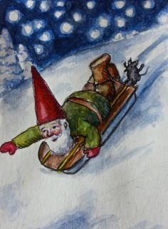 Gnome Christmas Cards  Handmade Blank by StarboardCollective, $3.50  Seasonal table? Waldorf