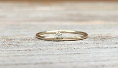 14k Floating Diamond Ring Tiny Diamond Ring Solid by LieselLove
