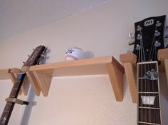 Wife-Approved Guitar Storage and Display Methods... Maple Guitar and Ukelele Hangers, and Coordinating Shelves Available Now at CSCarpentry on Etsy.