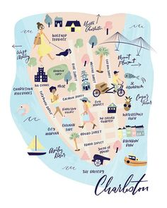 Charleston Map Art Print
