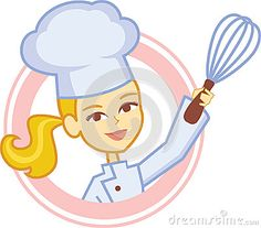 Bakery Logo with Girl Chef Character Design by Moneca1, via Dreamstime