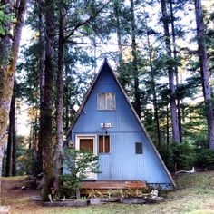 Little a-frame cabin in the woods. Tiny Cabins, Tiny House Cabin, Cabins And Cottages, Log Cabins, A Frame Cabin, A Frame House, Little Cabin, Little Houses, Forest Cabin