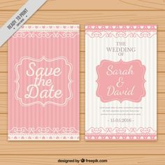 Wedding invitation with pink stripes Free Vector