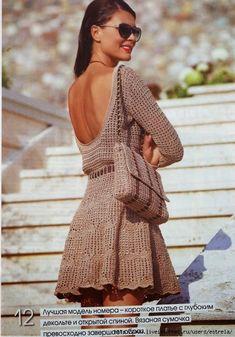 Irish crochet &: Эффектное платье с глубоким декольте и сумочка.