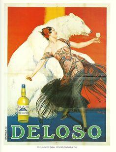 Deloso. Alcohol Vintage poster / vieille affiche publicitaire d'alcool. Drink ads.