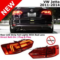 VW-Jetta-11-14-MK6-VI-LED-Pair-Tail-Lights-LED-Error-Free-Red-Lens-Clear