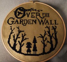 """shadesfire: """"Over the Garden Wall cross stitch. IT'S FINALLY DONE! This has taken me way too long (mostly because I got mad and procrastinated working on it for 2 months). The background is metallic..."""