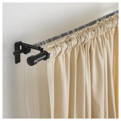 IKEA - HUGAD, Curtain rod, black, The length is adjustable. You can easily change the expression of the curtain rod by changing to different finials from our range. The finials are sold separately. May be completed with SYRLIG curtain rings (dia. Corner Curtain Rod, Corner Window Curtains, Black Curtain Rods, Curtain Rod Brackets, Curtain Rails, Window Curtain Rods, Thick Curtains, Double Rod Curtains, Ikea Curtains