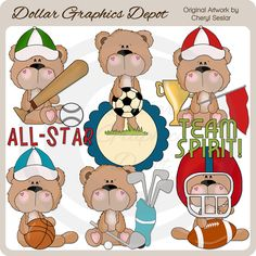 """BoBo Bear Plays Sports - Clip Art Collection - Only $1.00 at www.DollarGraphicsDepot.com : Great for printable crafts, scrapbook pages, greeting cards, sports team party invitations, sports team party favors, award certificates, printable photo frames, t-shirt transfers, candy bar wrappers, """"Sports Lover"""" note pad, kids' room wall art, and much more!"""