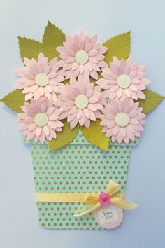 Love You - Flower Pot Card - Mother's Day card - Flower pot card for Mother's Day - For Grandma, Mother-in-Law, Daisy Flower Pot card